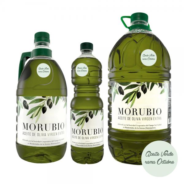 Aceite de Oliva Virgen Extra (AOVE) verde en rama Morubio, familia