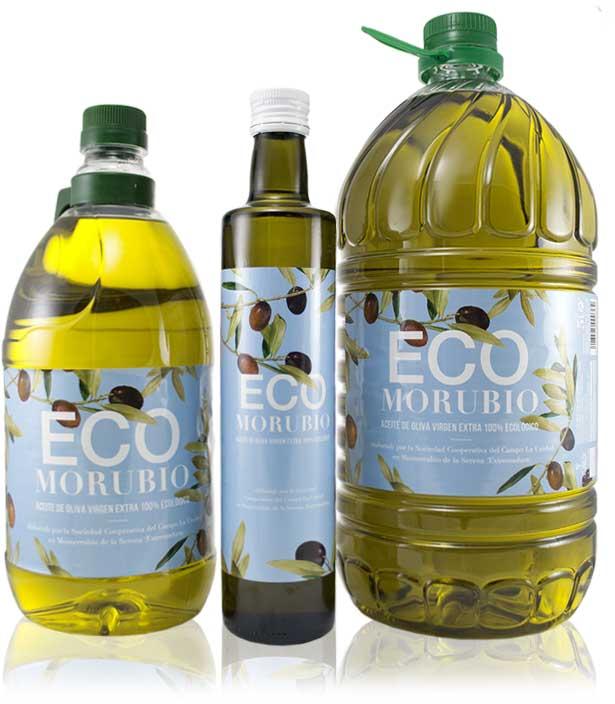 ECOMorubio, selección de botellas de Aceite de Oliva Virgen Extra Ecológico de la almazara La Unidad de Monterrubio de la Serena - Extremadura
