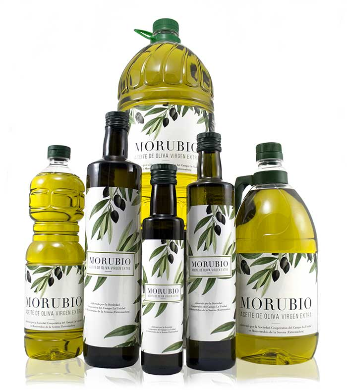 Morubio, selección de botellas de Aceite de Oliva Virgen Extra de la almazara La Unidad de Monterrubio de la Serena - Extremadura