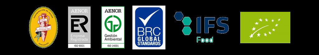 Certificados de calidad AENOR ISO 9001 - ISO 14001 - BRC GLOBAL STANDARD - IFS FOOD