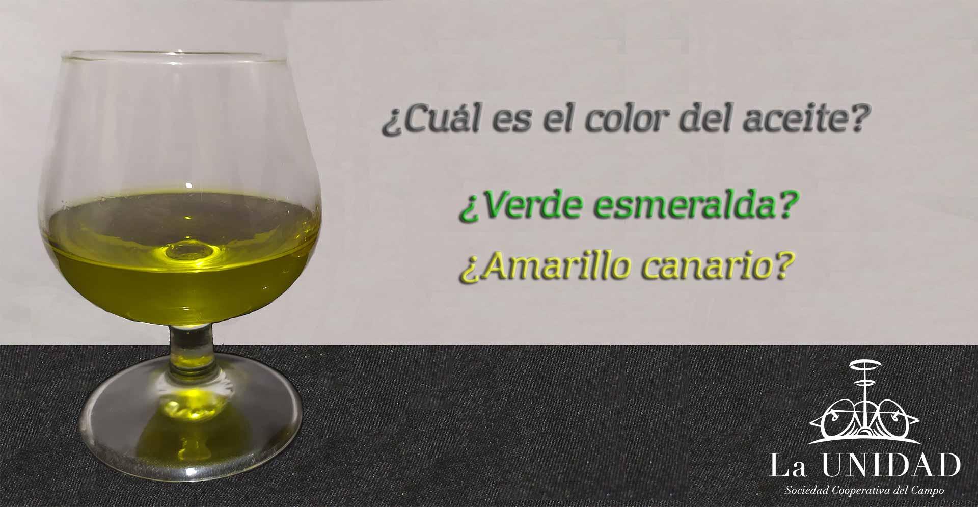 Color del aceite de oliva verde esmeralda o canario
