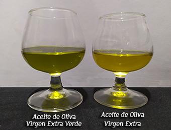 Color aceite de oliva verde y aceite de oliva virgen extra